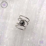 Tourmaline Quartz Silver Banded Ear Cuff